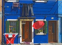 Colorful street scene - Burano - Venice Royalty Free Stock Image