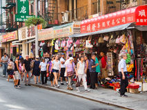 Colorful street scene at Chinatown in New York City Royalty Free Stock Images