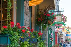 Colorful street scene in downtown Quebec City stock photos