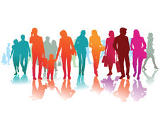 Colorful people silhouettes Royalty Free Stock Images