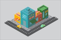 Multicolored street in isometry. Colorful street with shops with a road in isometry. Many different shops, beautiful signs. Roadway with cars stock illustration