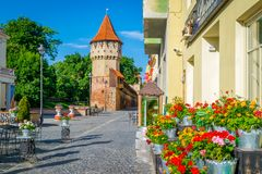 Colorful street in Sibiu in the morning, Transylvania region Royalty Free Stock Images