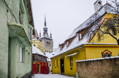 Colorful street in Sighisoara, Romania Stock Photography