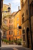 Empty street in Vieux Lyon. Royalty Free Stock Images