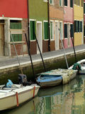 The colorful streets and canals of Burano, Venice Stock Photos