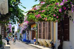Colorful streets in Cartagena Colombia stock image