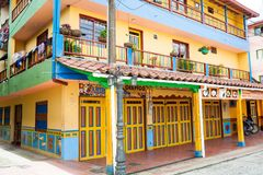 Colorful streets of Guatape city in Colombia. The colorful streets of Guatape city in Colombia Royalty Free Stock Photos