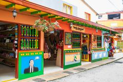 Colorful streets of Guatape city in Colombia. The colorful streets of Guatape city in Colombia Stock Photos