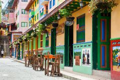 Colorful streets of Guatape city in Colombia. The colorful streets of Guatape city in Colombia Stock Photo