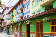 Colorful streets of Guatape city in Colombia. The colorful streets of Guatape city in Colombia Royalty Free Stock Images