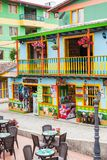 Colorful streets of Guatape city in Colombia. The colorful streets of Guatape city in Colombia Royalty Free Stock Photography