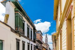 La Candelaria colorful Streets  Bogota Colombia Stock Photo