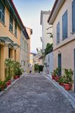 Street in Nafplio, Greece. Colorful streets of the old town Nafplio, Greece stock image