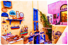 Colorful streets of Santorini Royalty Free Stock Photos
