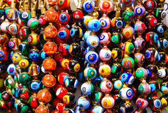 Colorful string of beads. Colorful strings of beads hanging on the street stand for sale in Venice Stock Image