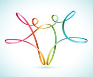 Colorful string figures dancing. Two colorful string figures dancing vector Stock Photo