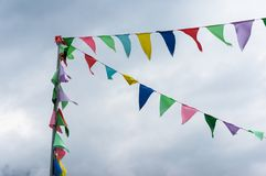 Colorful string pennant flags Stock Image