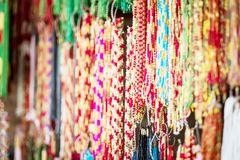 Colorful strings beads. On street market Royalty Free Stock Photos