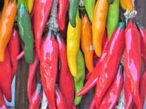 Ceramic chili peppers. Colorful strings of ornamental ceramic chili peppers, ristrason display in a shop in Santa Fe, New Mexico royalty free stock images
