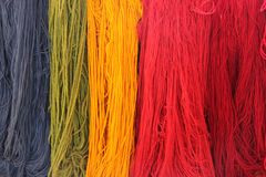 Colorful strings of yarn at store. Various colorful strings of Alpaca yarn are on display at a souvenir store in Arequipa, Peru royalty free stock photos