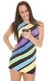 Colorful stripe short dress phone smile Stock Images