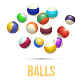 Colorful Striped balls. 3d Spheres. Balls isolated on white background. Vector Stock Photo