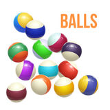Colorful Striped balls. 3d Spheres. Balls isolated on white background. Vector. Illustration Royalty Free Stock Photo