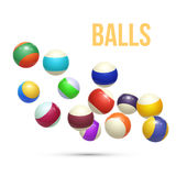 Colorful Striped balls. 3d Spheres. Balls isolated on white background. Vector. Illustration Royalty Free Stock Images