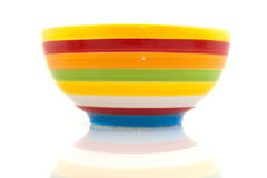 Colorful striped bowl. Row with three colorful striped bowl isolated over white Stock Photo