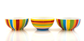 Colorful striped bowls Stock Image