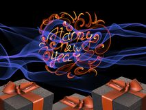 Colorful and striped boxes with gifts tied bows on dark abstract space background with happy new year letteing written by fire. Ha. Ppy new year 3d illustration Royalty Free Stock Photos