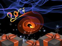 Colorful and striped boxes with gifts tied bows on dark abstract space background with 2017 letteing numbers written by fire. Happ. Y new year 3d illustration Royalty Free Illustration