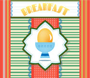 Colorful, striped card with yellow egg, text Royalty Free Stock Photo