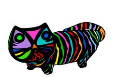Colorful Striped Cat Illustration Stock Photo