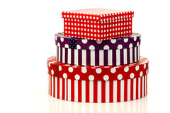 Colorful striped and checkered gift boxes Stock Image