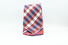 Colorful striped and checkered silk men tie isolated on white background Royalty Free Stock Photography