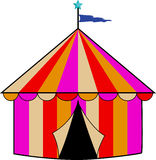 Colorful Striped Circus Tent. Colorful tan, red, gold and purple circus tent with light blue star and blue pennant flag Royalty Free Stock Image