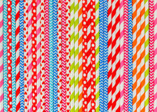 Colorful striped cocktail straws pattern, abstract background Royalty Free Stock Images