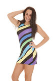 Colorful striped dress hand hair Stock Photo