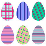 Colorful striped eggs Stock Photography
