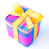 Colorful striped gift box isolated. Royalty Free Stock Images