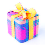 Colorful striped gift box isolated. Royalty Free Stock Image