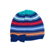 Colorful striped knitted wool hat isolated on white background. Royalty Free Stock Images