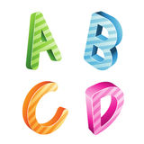 Colorful Striped Letters Royalty Free Stock Image