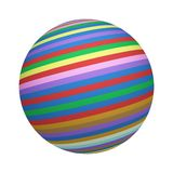 Colorful striped lines. Rainbow texture on sphere or ball isolated on white background. Mock up design. 3d abstract illustration.  royalty free illustration
