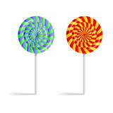 Colorful striped lollipops  on a white background Royalty Free Stock Photo