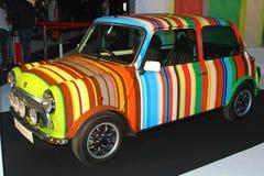 Colorful striped mini car Stock Photo