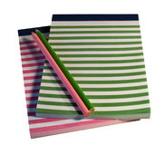 Colorful striped notepads and pencils Stock Image