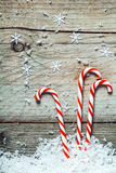 Colorful striped red and white Xmas candy canes Stock Images