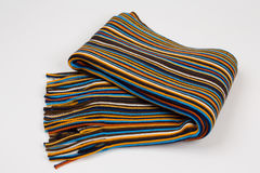 Colorful striped scarf on a white background Royalty Free Stock Images